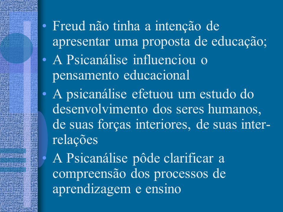 Freud não tinha a intenção de apresentar uma proposta de educação; A Psicanálise influenciou o pensamento educacional A psicanálise efetuou um estudo