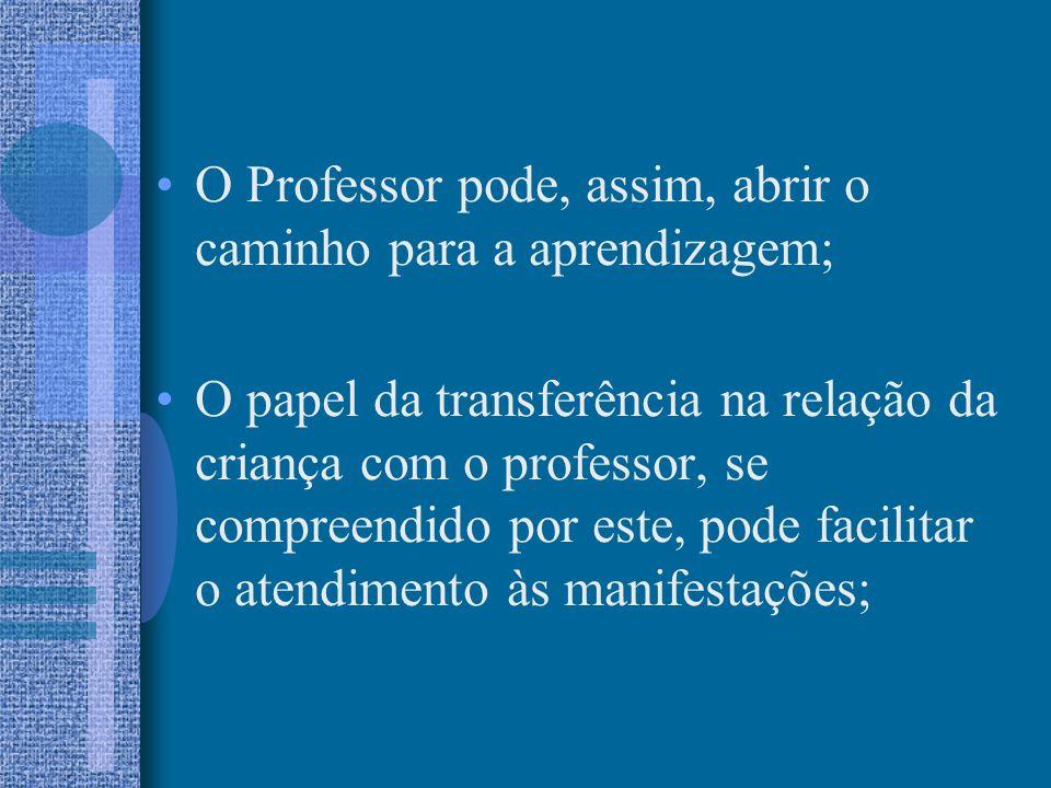 O Professor pode, assim, abrir o caminho para a aprendizagem; O papel da transferência na relação da criança com o professor, se compreendido por este