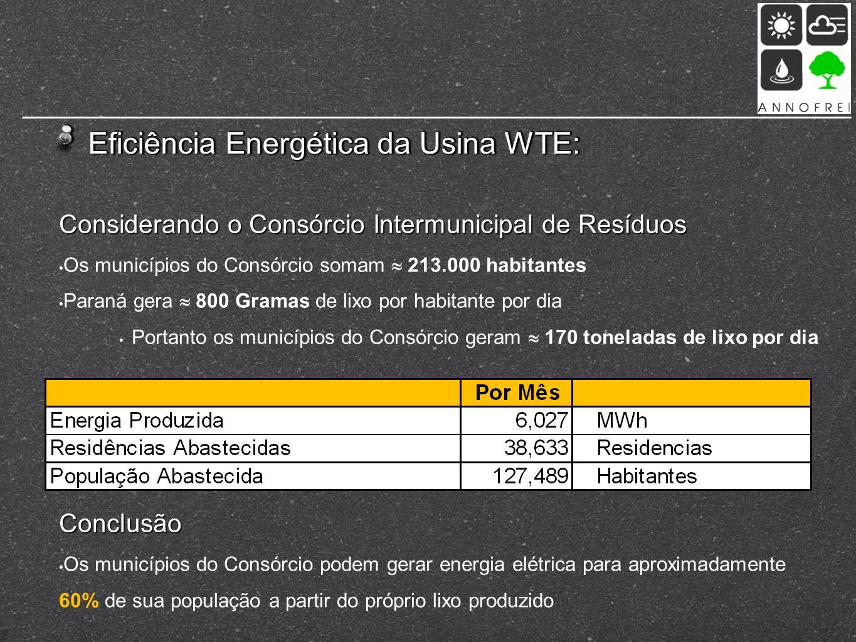 Eficiência Energética da Usina WTE: Considerando o Consórcio Intermunicipal de Resíduos Os municípios do Consórcio somam 213.000 habitantes Paraná ger