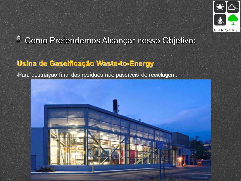 Como Pretendemos Alcançar nosso Objetivo: Usina de Gaseificação Waste-to-Energy Para destruição final dos resíduos não passíveis de reciclagem.