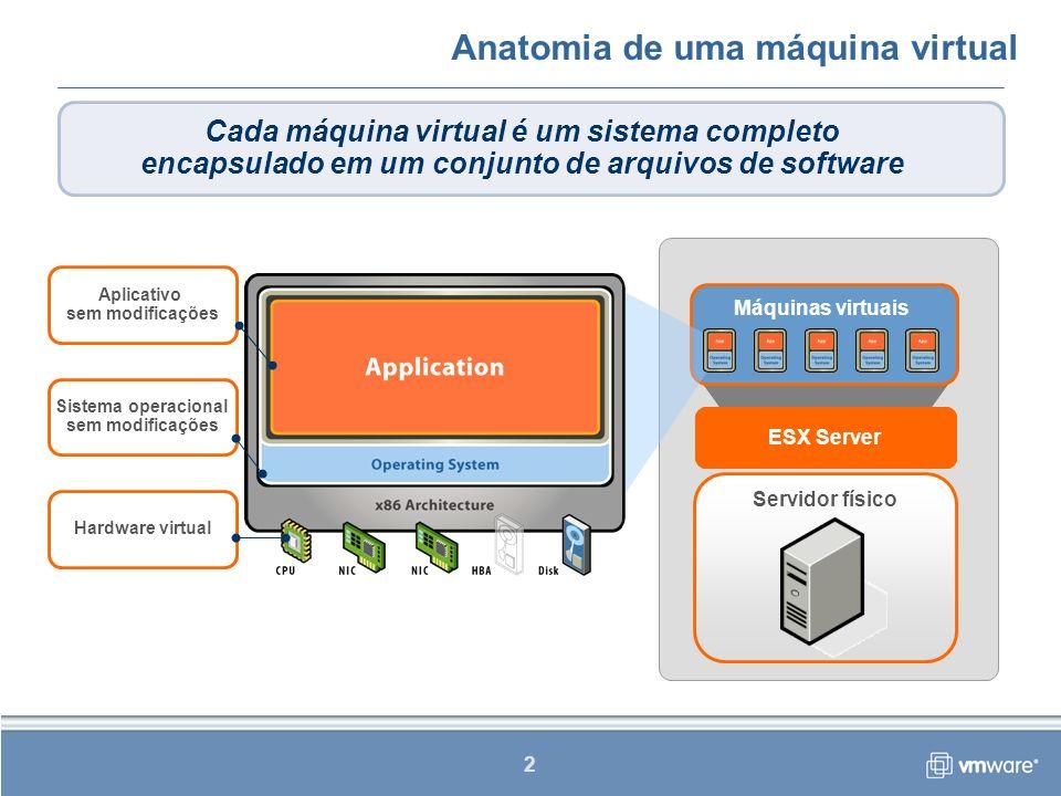 3 Anatomia de uma máquina virtual A máquina virtual é como um servidor mas, no lugar da eletrônica, existe um conjunto de arquivos de software.