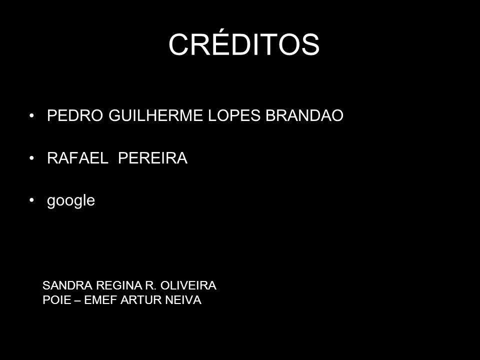 CRÉDITOS PEDRO GUILHERME LOPES BRANDAO RAFAEL PEREIRA google SANDRA REGINA R. OLIVEIRA POIE – EMEF ARTUR NEIVA
