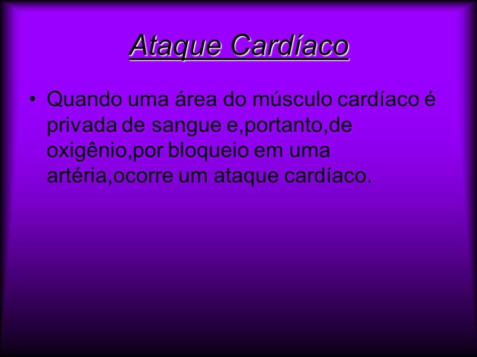 Ataque Cardíaco Quando uma área do músculo cardíaco é privada de sangue e,portanto,de oxigênio,por bloqueio em uma artéria,ocorre um ataque cardíaco.