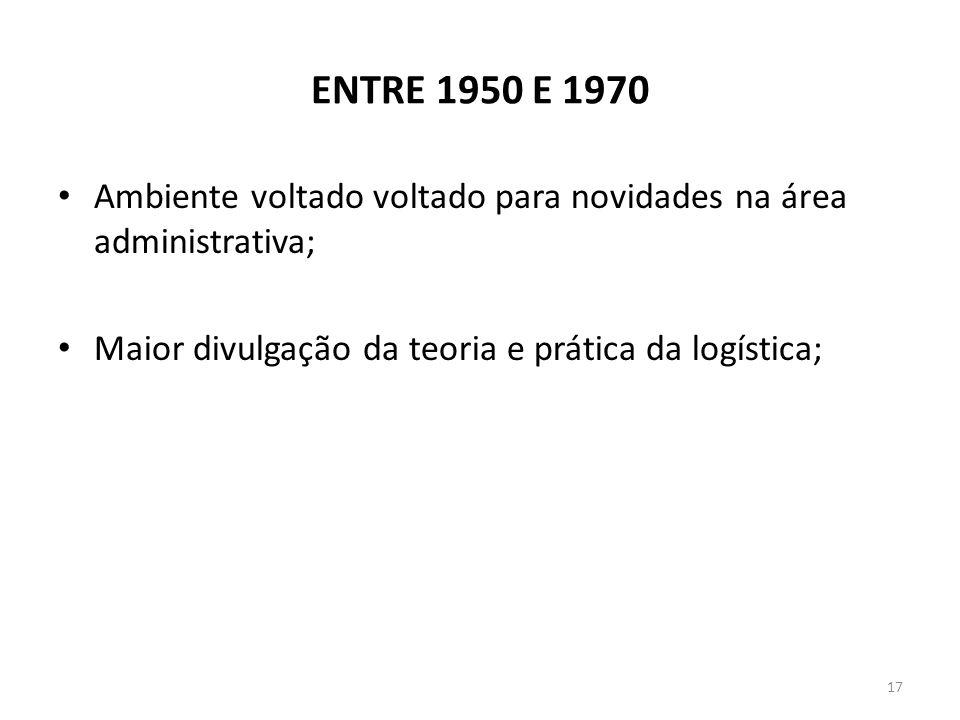 ENTRE 1950 E 1970 Ambiente voltado voltado para novidades na área administrativa; Maior divulgação da teoria e prática da logística; 17