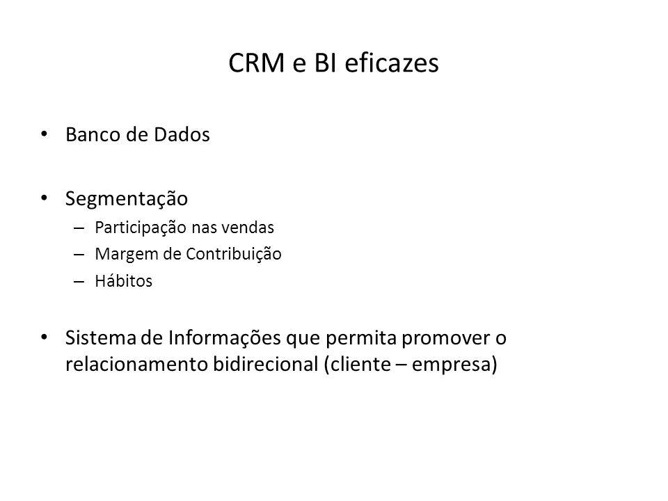 CRM e BI eficazes Banco de Dados Segmentação – Participação nas vendas – Margem de Contribuição – Hábitos Sistema de Informações que permita promover