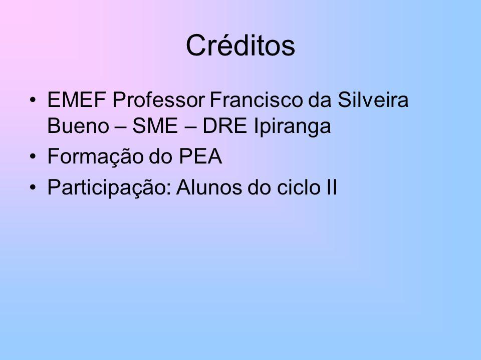 Créditos EMEF Professor Francisco da Silveira Bueno – SME – DRE Ipiranga Formação do PEA Participação: Alunos do ciclo II