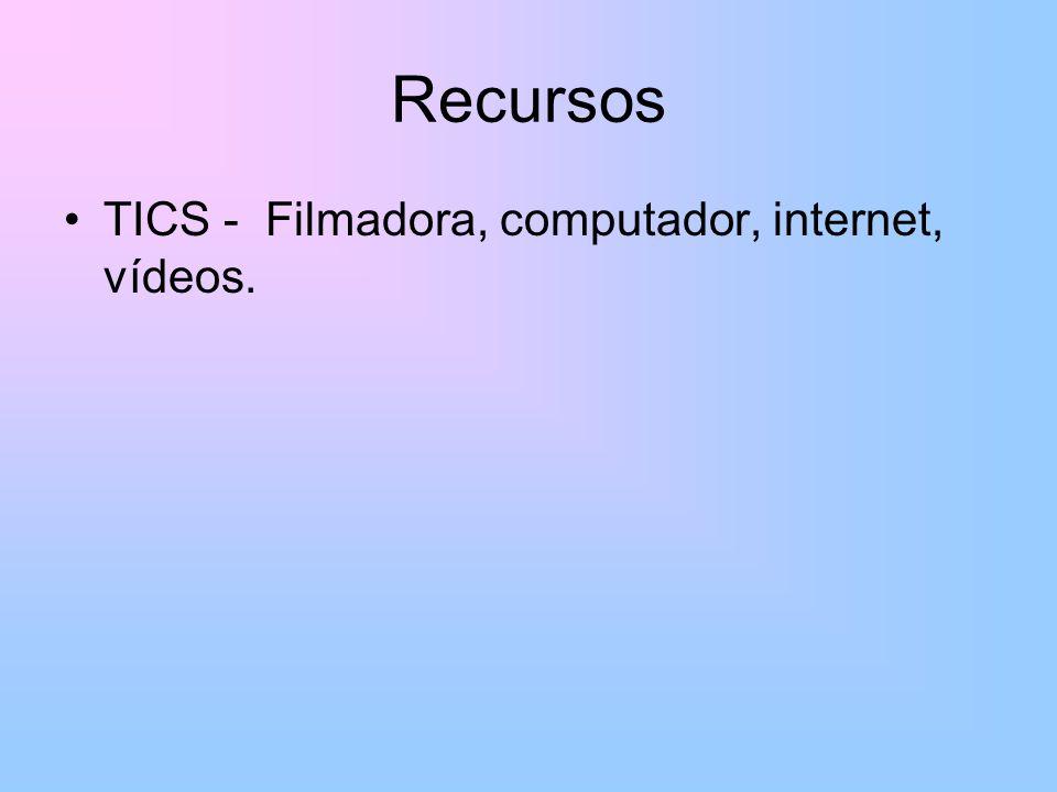 Recursos TICS - Filmadora, computador, internet, vídeos.