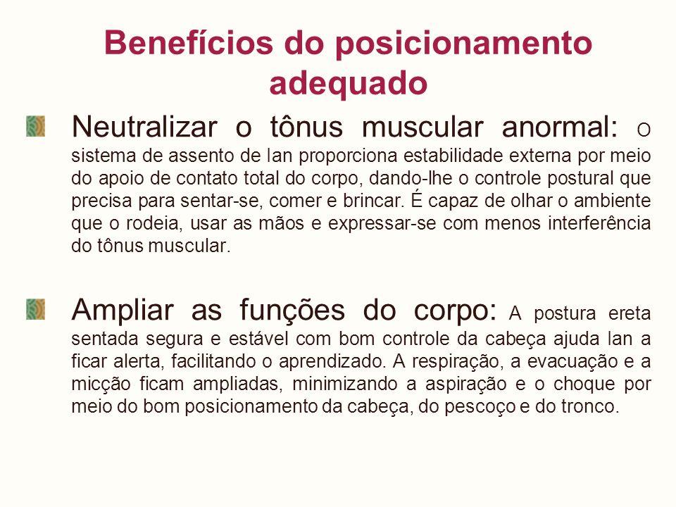 Benefícios do posicionamento adequado Neutralizar o tônus muscular anormal: O sistema de assento de Ian proporciona estabilidade externa por meio do a