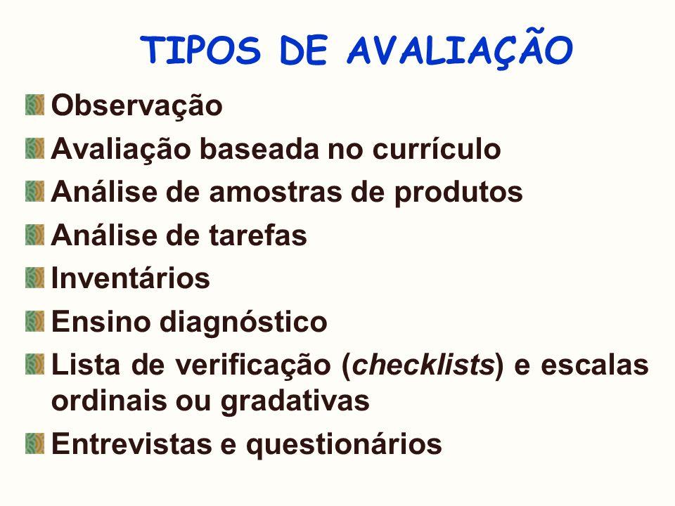 TIPOS DE AVALIAÇÃO Observação Avaliação baseada no currículo Análise de amostras de produtos Análise de tarefas Inventários Ensino diagnóstico Lista d