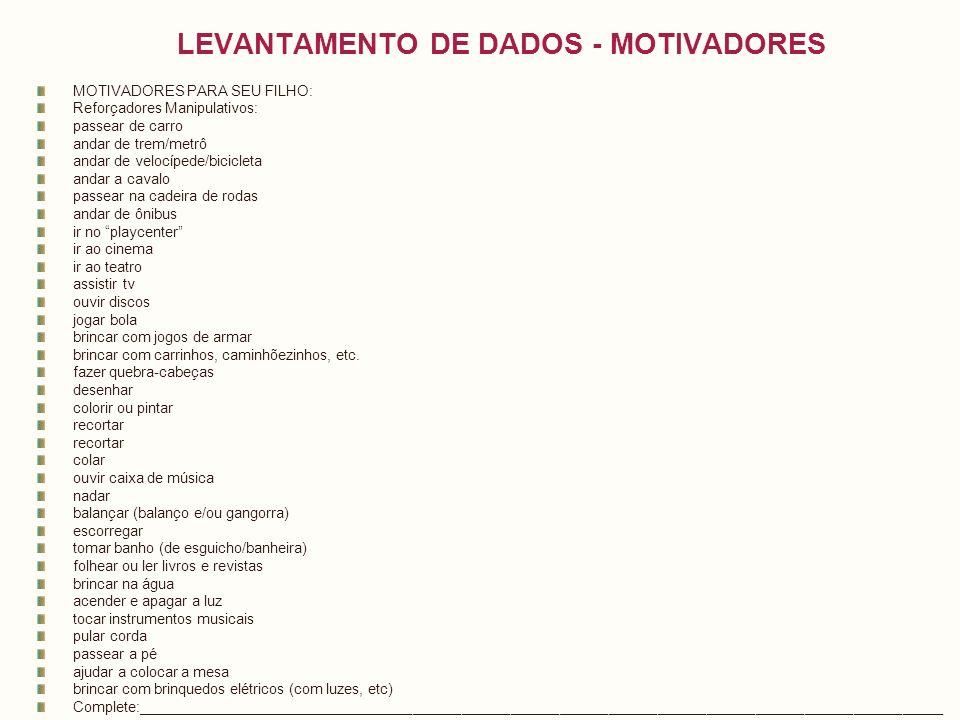 LEVANTAMENTO DE DADOS - MOTIVADORES MOTIVADORES PARA SEU FILHO: Reforçadores Manipulativos: passear de carro andar de trem/metrô andar de velocípede/b
