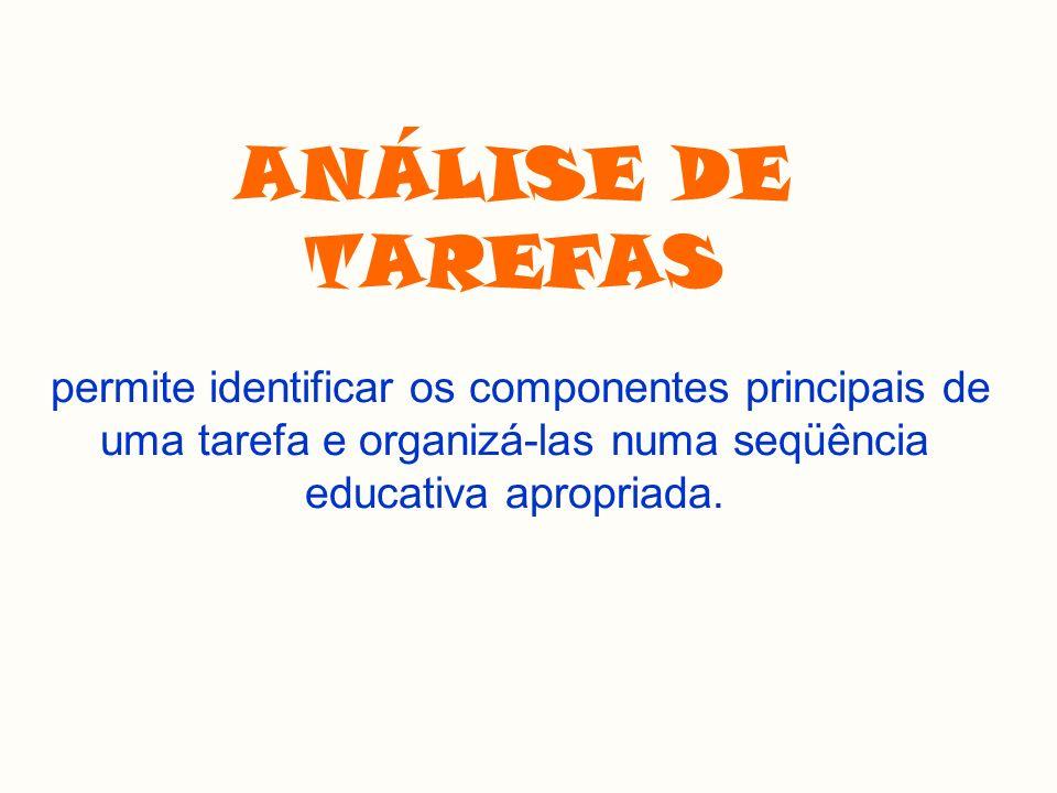 ANÁLISE DE TAREFAS permite identificar os componentes principais de uma tarefa e organizá-las numa seqüência educativa apropriada.