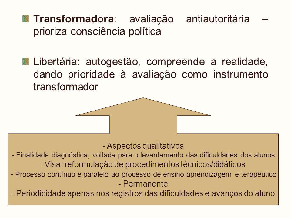Transformadora: avaliação antiautoritária – prioriza consciência política Libertária: autogestão, compreende a realidade, dando prioridade à avaliação