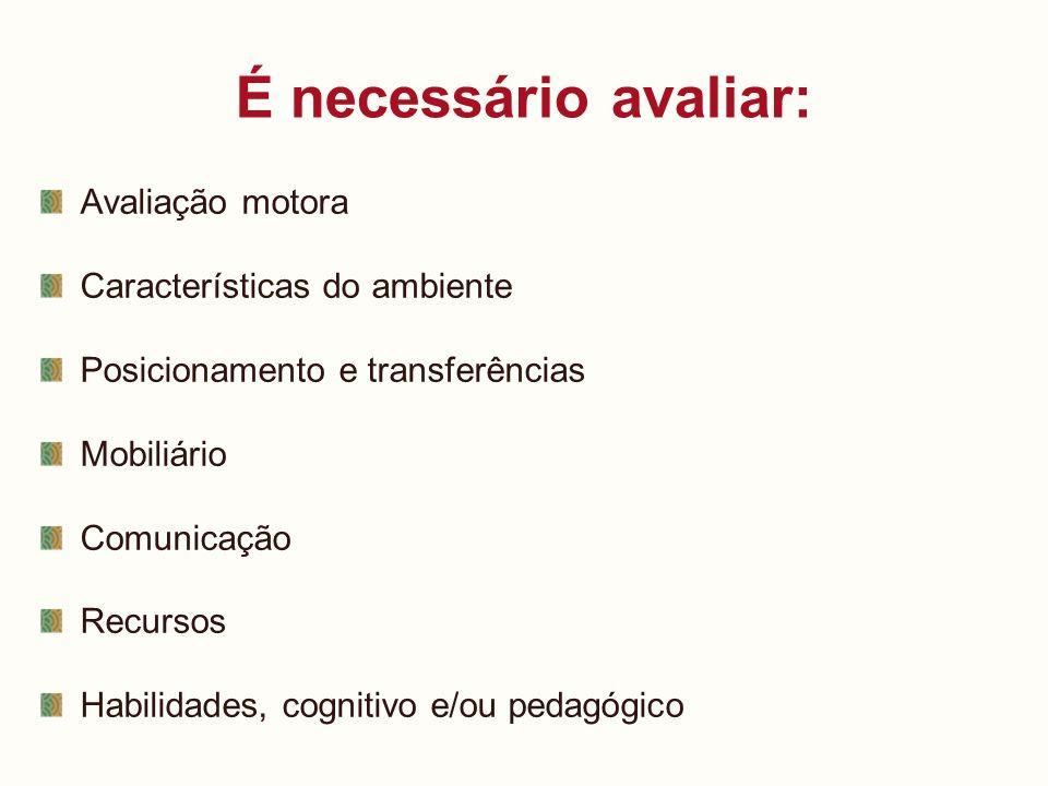 É necessário avaliar: Avaliação motora Características do ambiente Posicionamento e transferências Mobiliário Comunicação Recursos Habilidades, cognit
