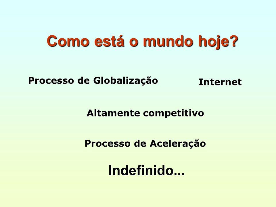 Como está o mundo hoje? Indefinido... Processo de Globalização Internet Internet Processo de Aceleração Altamente competitivo