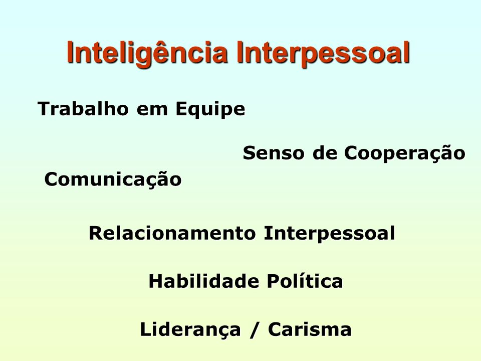 Inteligência Interpessoal Comunicação Liderança / Carisma Senso de Cooperação Relacionamento Interpessoal Habilidade Política Trabalho em Equipe