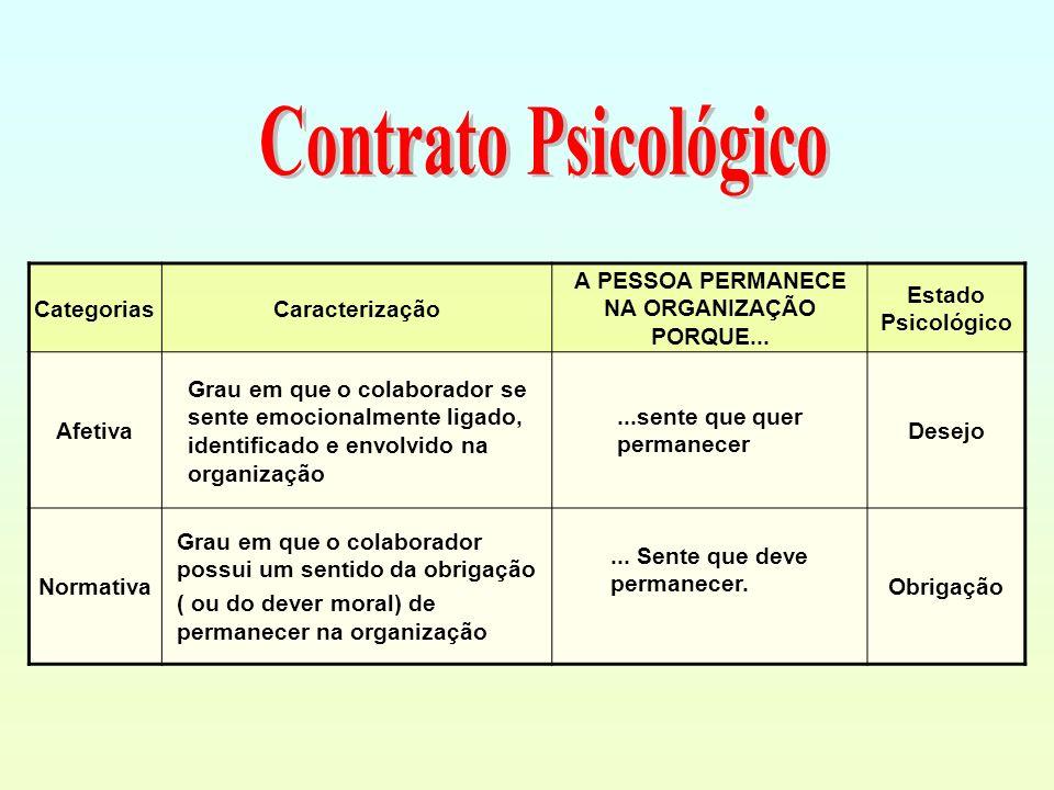CategoriasCaracterização A PESSOA PERMANECE NA ORGANIZAÇÃO PORQUE... Estado Psicológico Afetiva Grau em que o colaborador se sente emocionalmente liga