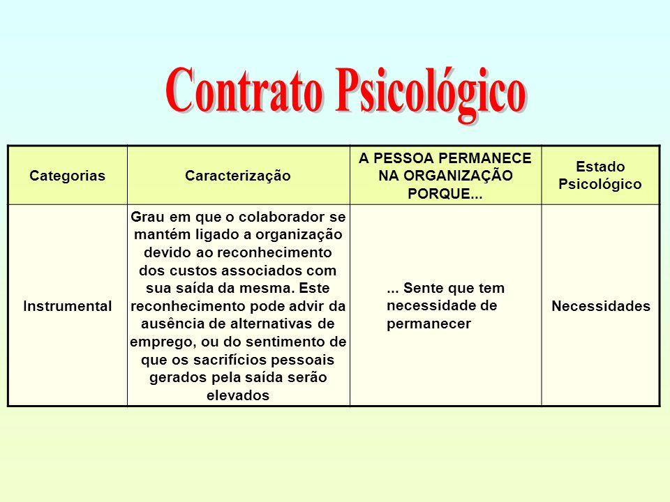 CategoriasCaracterização A PESSOA PERMANECE NA ORGANIZAÇÃO PORQUE... Estado Psicológico Instrumental Grau em que o colaborador se mantém ligado a orga