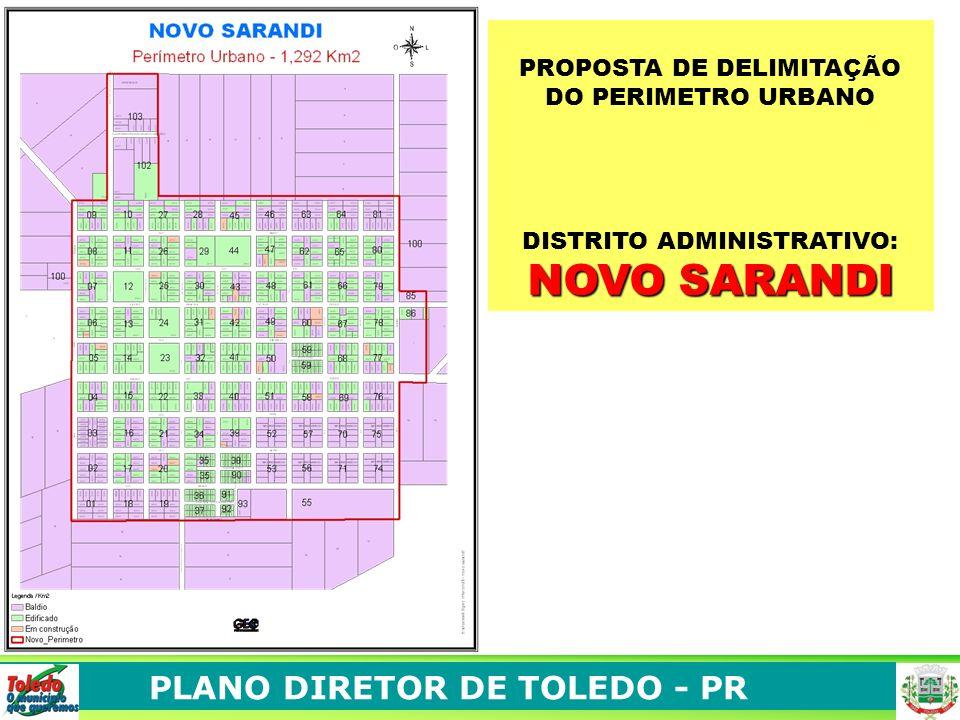 PLANO DIRETOR DE TOLEDO - PR PROPOSTA DE DELIMITAÇÃO DO PERIMETRO URBANO DISTRITO ADMINISTRATIVO: NOVO SARANDI
