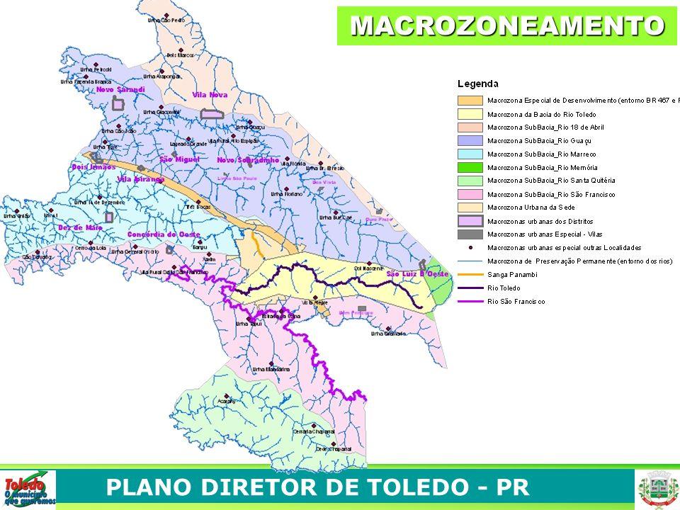 MACROZONAS URBANAS Perímetro urbano da sede municipal Perímetros urbanos - distritos administrativos Localidades consideradas áreas urbanas MACROZONA AMBIENTAIS Macrozona Sub-Bacia Rio São Francisco MACROZONA DE PRESERVAÇÃO PERMANENTE MACROZONAS ESPECIAIS Macrozona de Desenvolvimento – Entorno BR467 e PRT 163 - MACROZONASMACROZONAS Macrozona Sub-Bacia Rio Santa Quitéria Macrozona Sub-Bacia Rio Marreco Macrozona Sub-Bacia Rio Guaçu Macrozona Sub-Bacia 18 de Abril Macrozona Rio Toledo Entorno dos Rios e RPPN(S)