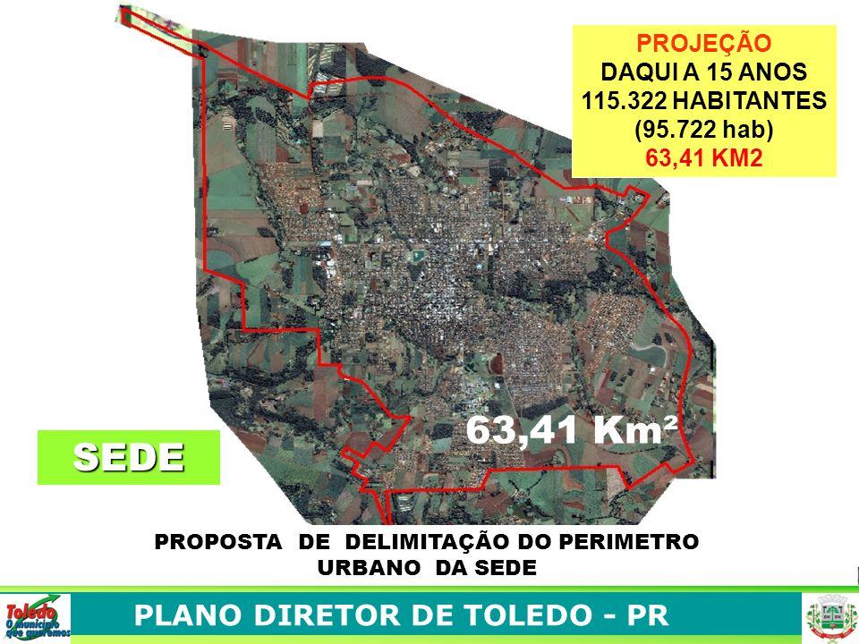 PROPOSTA DE DELIMITAÇÃO DO PERIMETRO URBANO DA SEDE PROJEÇÃO DAQUI A 15 ANOS 115.322 HABITANTES (95.722 hab) 63,41 KM2 63,41 Km² SEDE