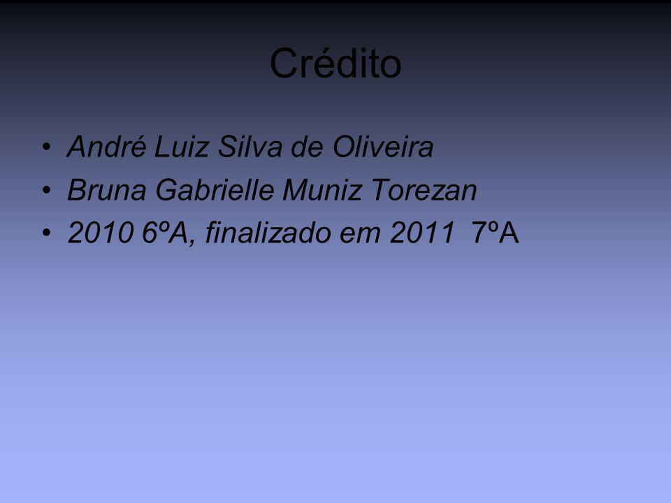 Crédito André Luiz Silva de Oliveira Bruna Gabrielle Muniz Torezan 2010 6ºA, finalizado em 2011 7ºA