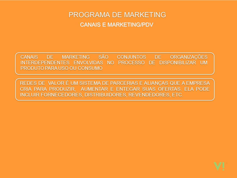 PROGRAMA DE MARKETING CANAIS E MARKETING/PDV CANAIS DE MARKETING SÃO CONJUNTOS DE ORGANIZAÇÕES INTERDEPENDENTES ENVOLVIDAS NO PROCESSO DE DISPONIBILIZAR UM PRODUTO PARA USO OU CONSUMO CANAIS DE MARKETING SÃO CONJUNTOS DE ORGANIZAÇÕES INTERDEPENDENTES ENVOLVIDAS NO PROCESSO DE DISPONIBILIZAR UM PRODUTO PARA USO OU CONSUMO REDES DE VALOR É UM SISTEMA DE PARCERIAS E ALIANÇAS QUE A EMPRESA CRIA PARA PRODUZIR, AUMENTAR E ENTEGAR SUAS OFERTAS.