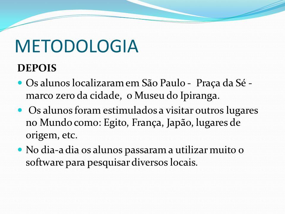 METODOLOGIA DEPOIS Os alunos localizaram em São Paulo - Praça da Sé - marco zero da cidade, o Museu do Ipiranga. Os alunos foram estimulados a visitar