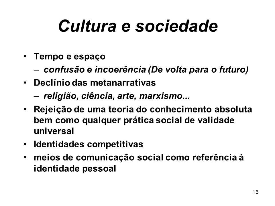 14 Cultura e sociedade Mediação dos meios de comunicação social –Visão liberal versus Visão radical –A realidade é o meio (não a mensagem) Estilo –con