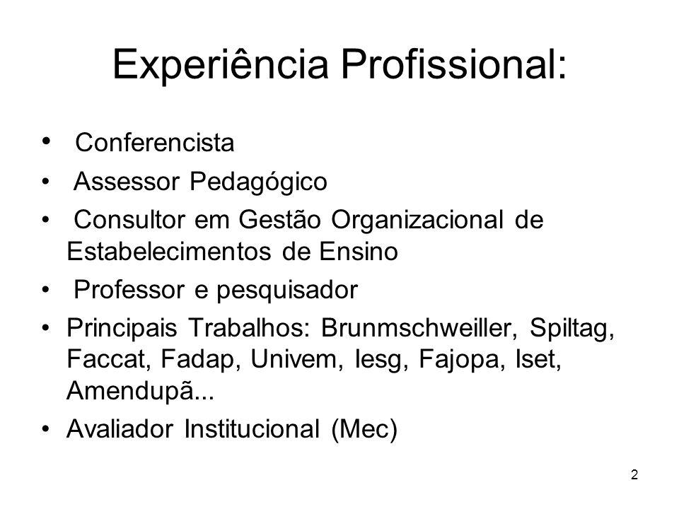 1 Prof. Dr. Marcos Leite Graduação: Filosofia e Teologia Especialização: –Comportamento Organizacional (Inbrape) –Antropologia Organizacional (UC – Ch