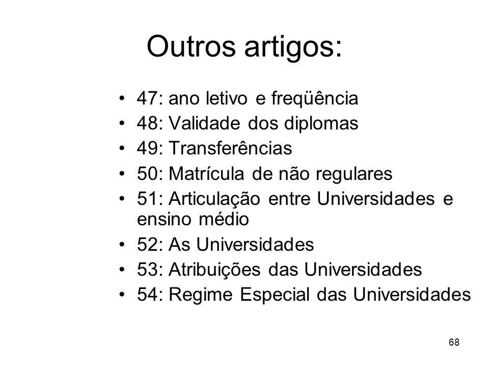 67 Art. 44 Cursos: –S–Seqüenciais –G–Graduação –P–Pós-graduação –E–Extensão Art. 45 – Instituições (públicas e privadas) Art. 46 – Autorização (limita