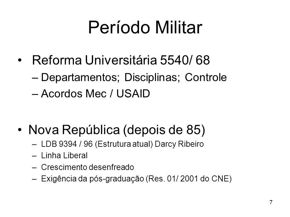 6 No Brasil Colônia – educação religiosa –17 colégios; Ratio Studiorum, Reformas de Pombal Império – Escolas Profissionais –Escolas de Comércio; buroc