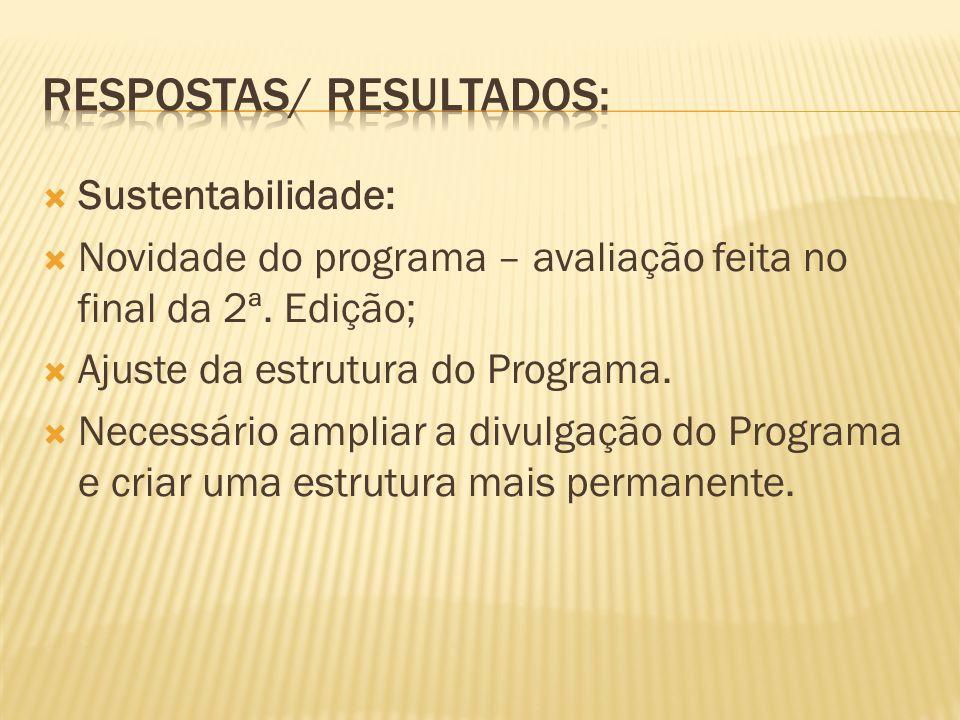 Sustentabilidade: Novidade do programa – avaliação feita no final da 2ª.