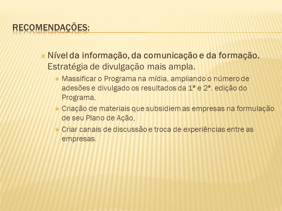 Nível da informação, da comunicação e da formação.