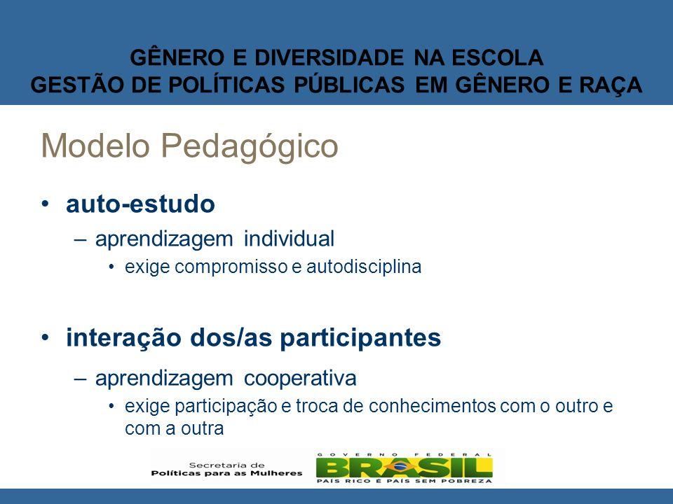 GÊNERO E DIVERSIDADE NA ESCOLA GESTÃO DE POLÍTICAS PÚBLICAS EM GÊNERO E RAÇA Metodologia O trabalho com a desconstrução e a construção de valores.