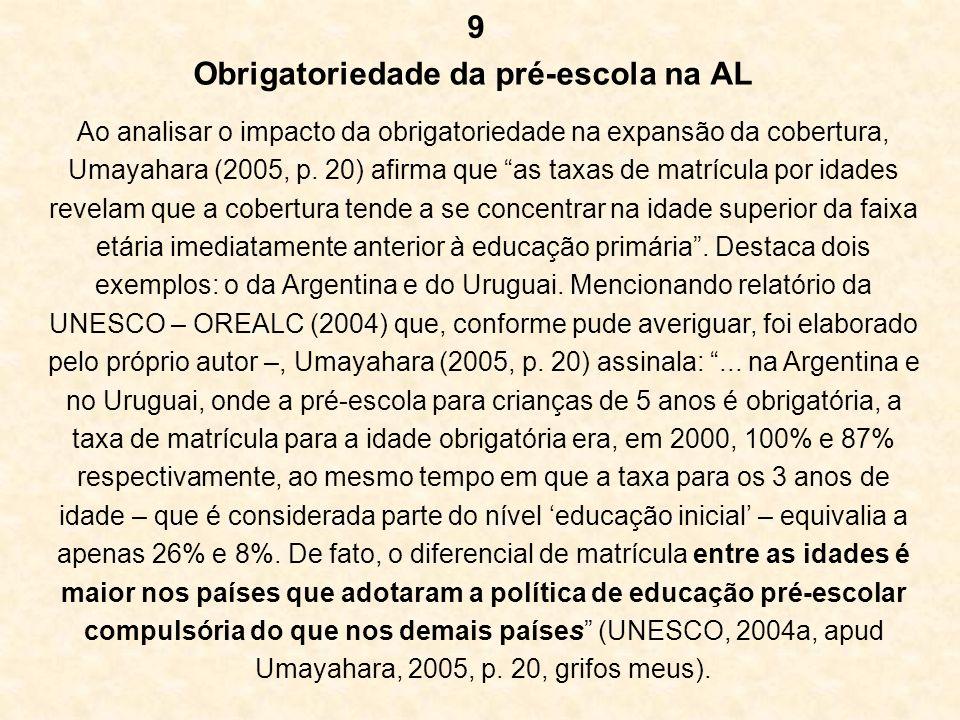 Obrigatoriedade da pré-escola na AL Ao analisar o impacto da obrigatoriedade na expansão da cobertura, Umayahara (2005, p. 20) afirma que as taxas de