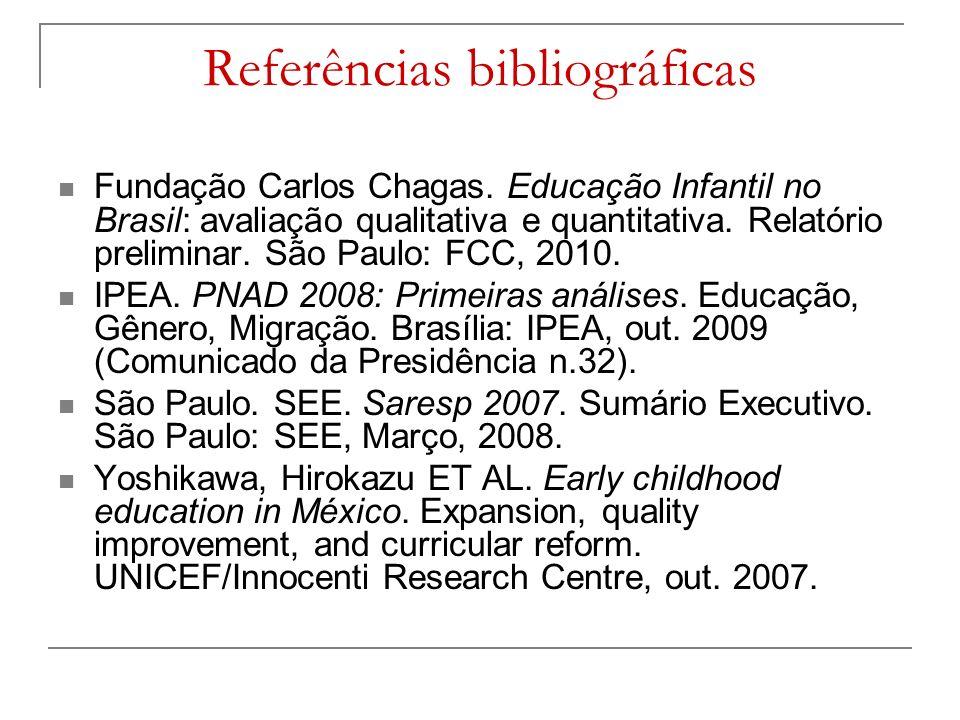 Referências bibliográficas Fundação Carlos Chagas.