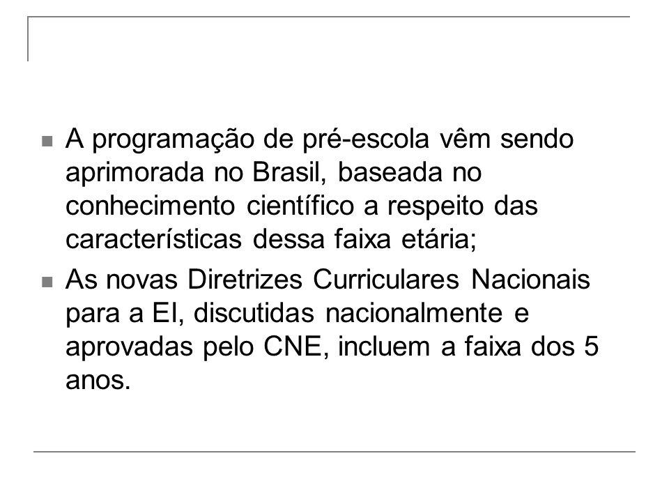 A programação de pré-escola vêm sendo aprimorada no Brasil, baseada no conhecimento científico a respeito das características dessa faixa etária; As novas Diretrizes Curriculares Nacionais para a EI, discutidas nacionalmente e aprovadas pelo CNE, incluem a faixa dos 5 anos.