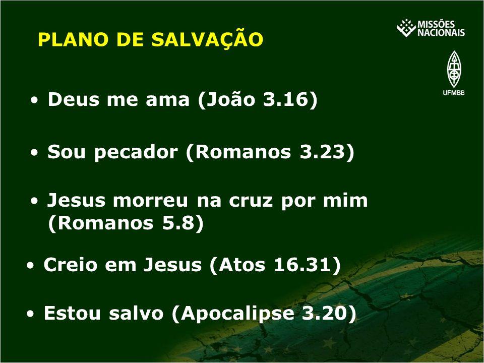 Jesus morreu na cruz por mim (Romanos 5.8) PLANO DE SALVAÇÃO Deus me ama (João 3.16) Sou pecador (Romanos 3.23) Estou salvo (Apocalipse 3.20) Creio em
