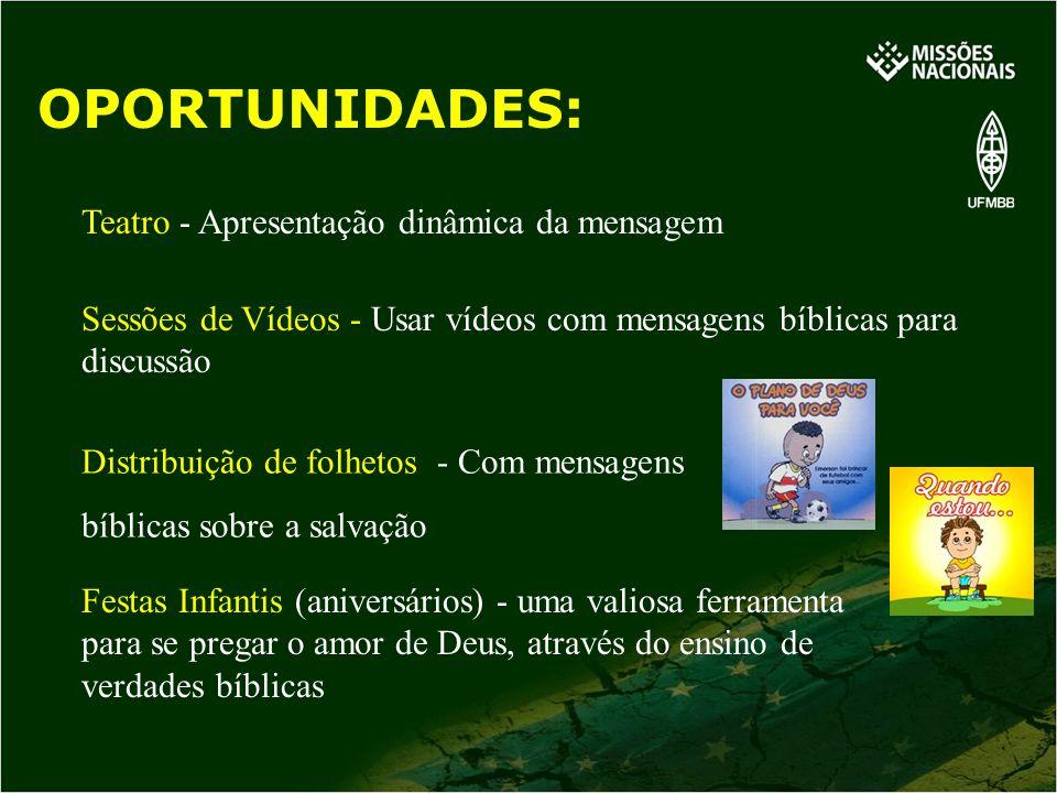 Teatro - Apresentação dinâmica da mensagem Sessões de Vídeos - Usar vídeos com mensagens bíblicas para discussão Distribuição de folhetos - Com mensag