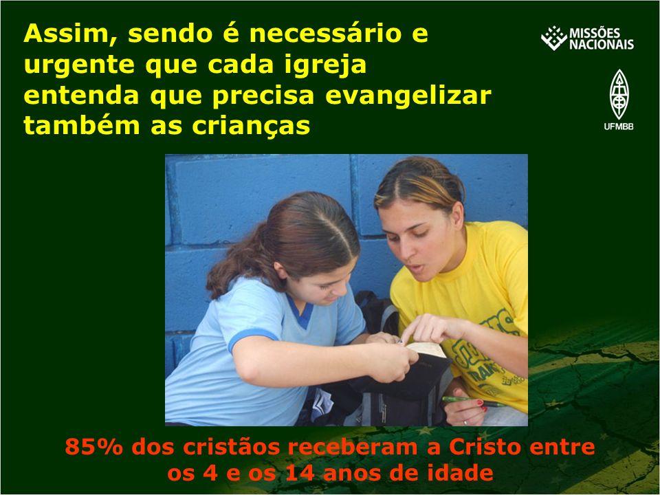 Assim, sendo é necessário e urgente que cada igreja entenda que precisa evangelizar também as crianças 85% dos cristãos receberam a Cristo entre os 4