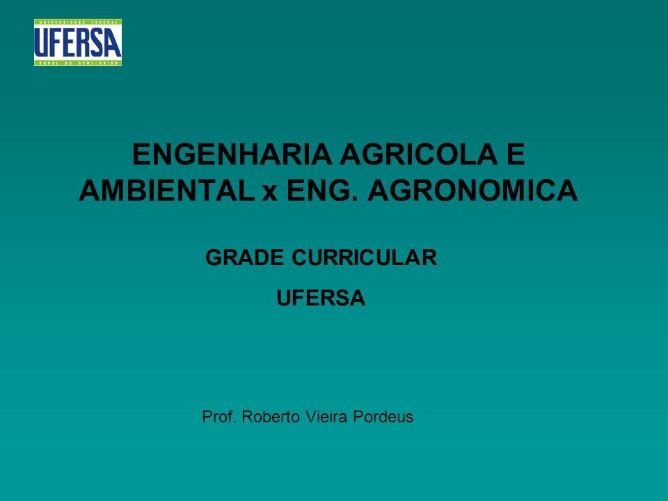 ENGENHARIA AGRICOLA E AMBIENTAL x ENG. AGRONOMICA GRADE CURRICULAR UFERSA Prof. Roberto Vieira Pordeus