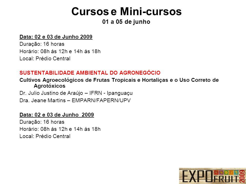 Data: 02 e 03 de Junho 2009 Duração: 16 horas Horário: 08h ás 12h e 14h ás 18h Local: Prédio Central SUSTENTABILIDADE AMBIENTAL DO AGRONEGÓCIO Cultivo