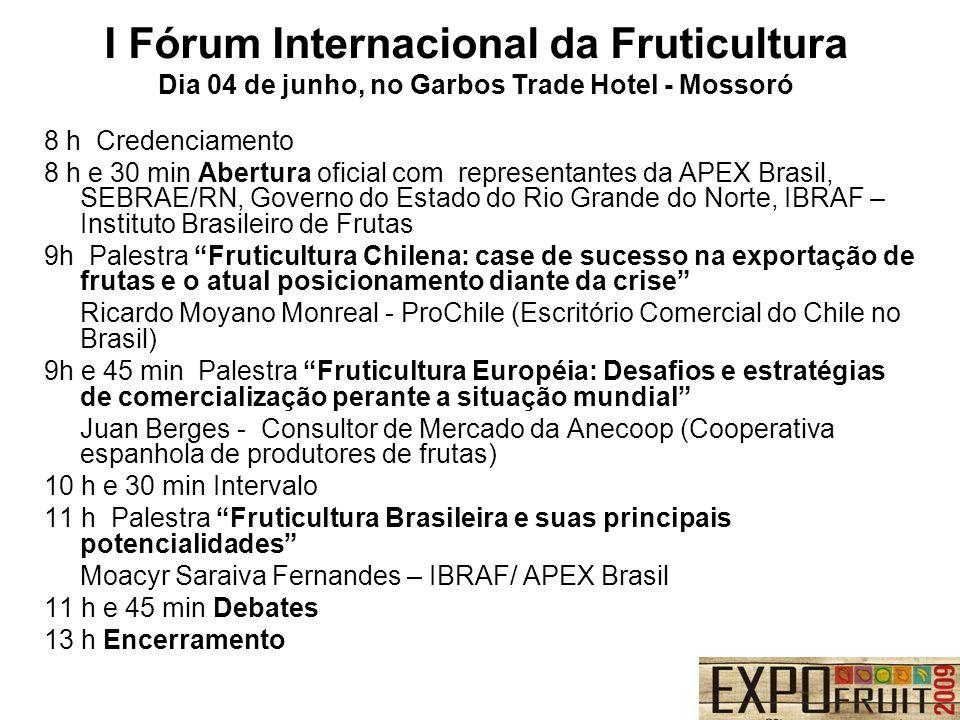 8 h Credenciamento 8 h e 30 min Abertura oficial com representantes da APEX Brasil, SEBRAE/RN, Governo do Estado do Rio Grande do Norte, IBRAF – Insti