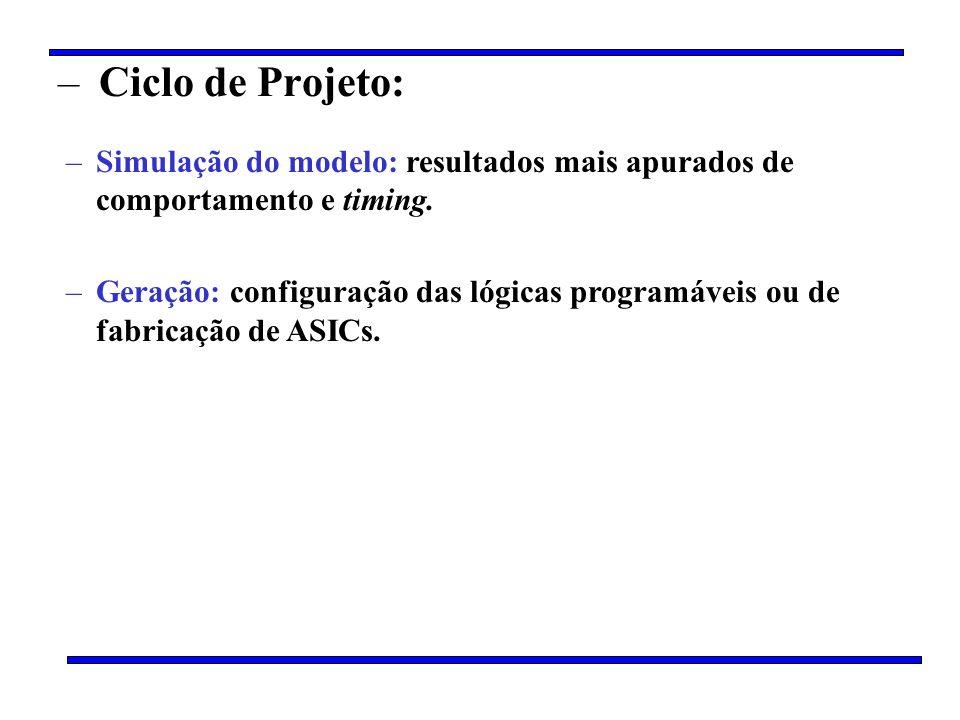 – Ciclo de Projeto: –Simulação do modelo: resultados mais apurados de comportamento e timing. –Geração: configuração das lógicas programáveis ou de fa