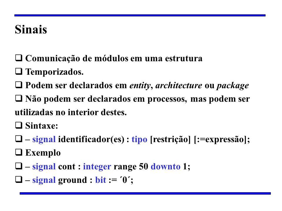 Sinais Comunicação de módulos em uma estrutura Temporizados. Podem ser declarados em entity, architecture ou package Não podem ser declarados em proce