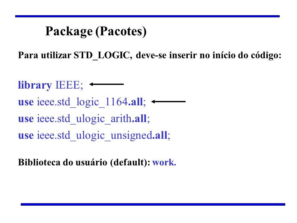 Package (Pacotes) Para utilizar STD_LOGIC, deve-se inserir no início do código: library IEEE; use ieee.std_logic_1164.all; use ieee.std_ulogic_arith.a