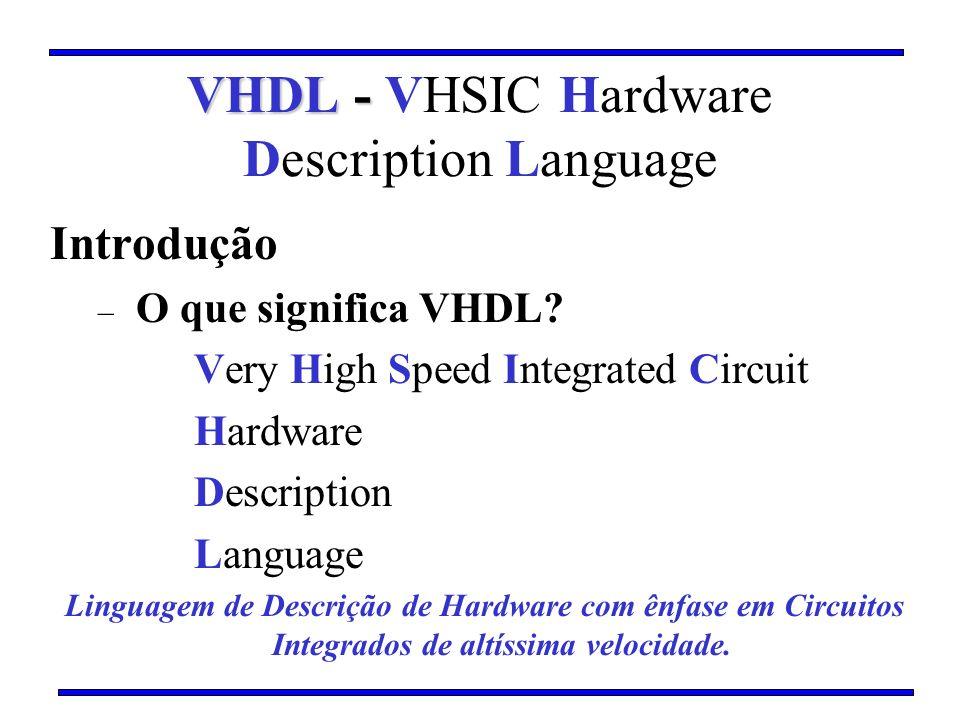 Introdução – O que significa VHDL? Very High Speed Integrated Circuit Hardware Description Language Linguagem de Descrição de Hardware com ênfase em C