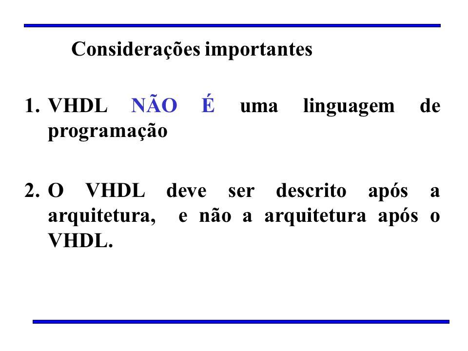 Considerações importantes 1.VHDL NÃO É uma linguagem de programação 2.O VHDL deve ser descrito após a arquitetura, e não a arquitetura após o VHDL.