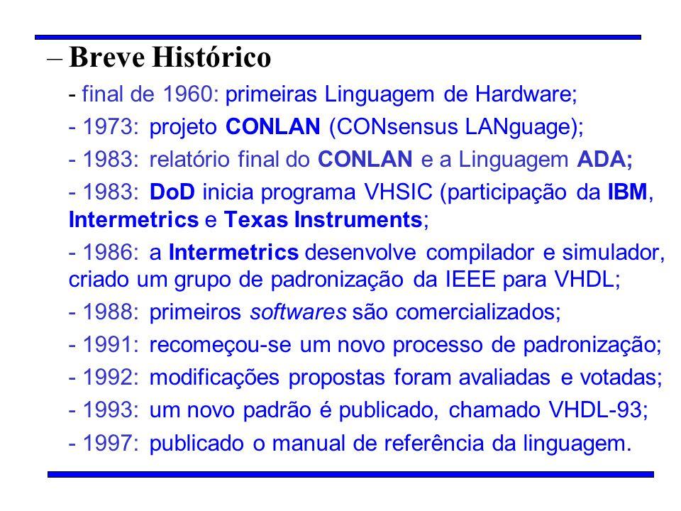 –Breve Histórico - final de 1960: primeiras Linguagem de Hardware; - 1973:projeto CONLAN (CONsensus LANguage); - 1983: relatório final do CONLAN e a L