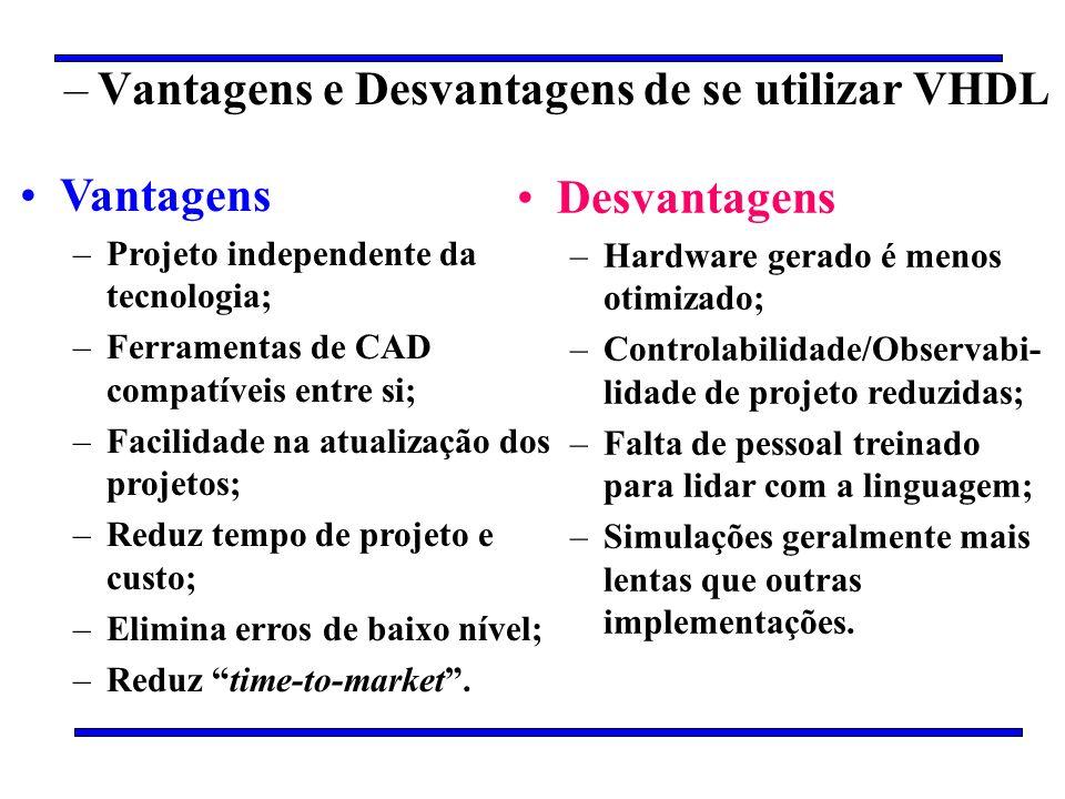 –Vantagens e Desvantagens de se utilizar VHDL Vantagens –Projeto independente da tecnologia; –Ferramentas de CAD compatíveis entre si; –Facilidade na